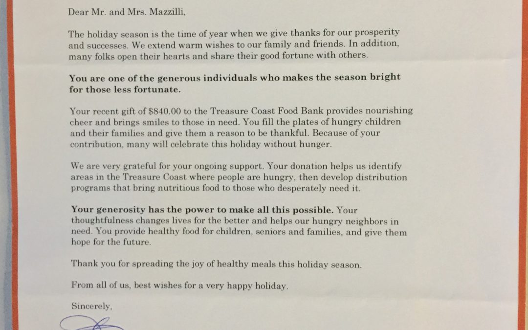 Honest Air Inc. & Team Donate to the Treasure Coast Food Bank 2017